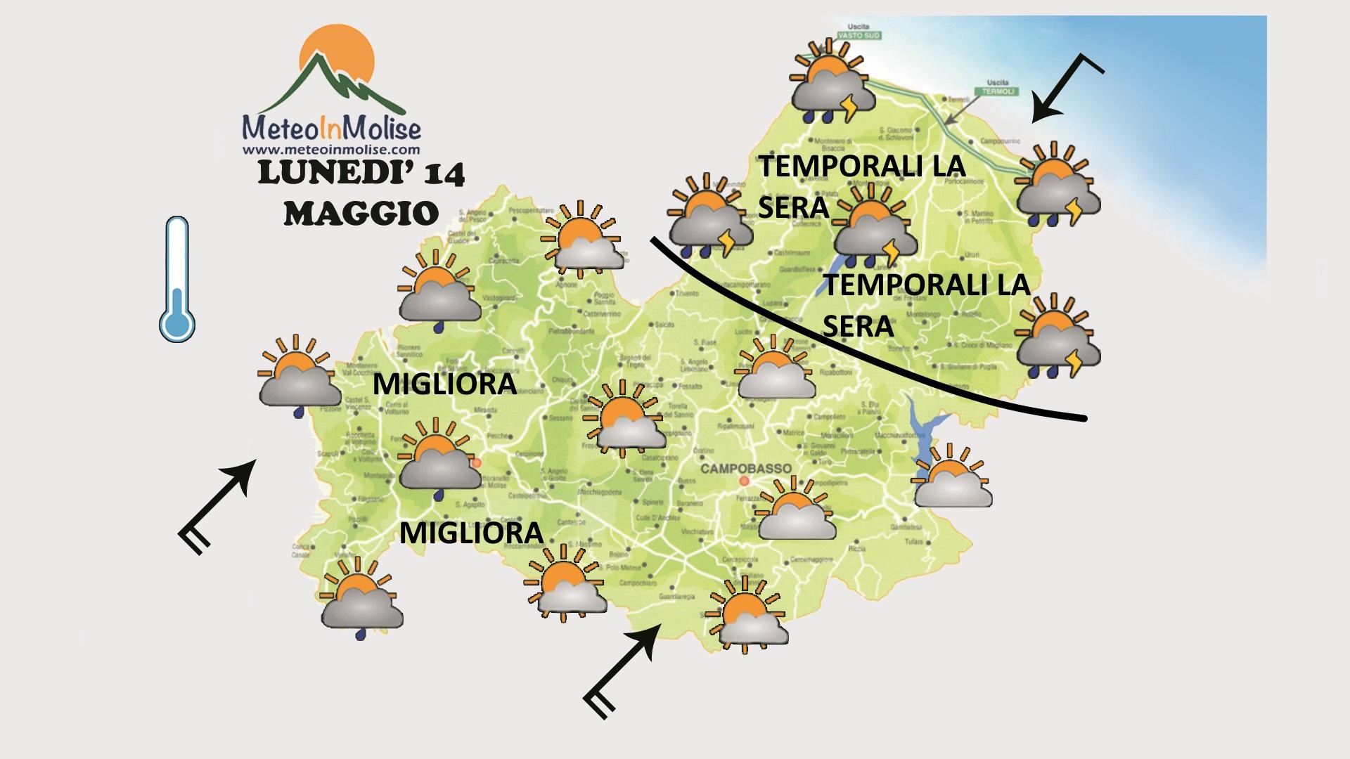 METEO IN MOLISE – Temporali e calo della temperatura a causa del vortice di bassa pressione in formazione sulla Liguria
