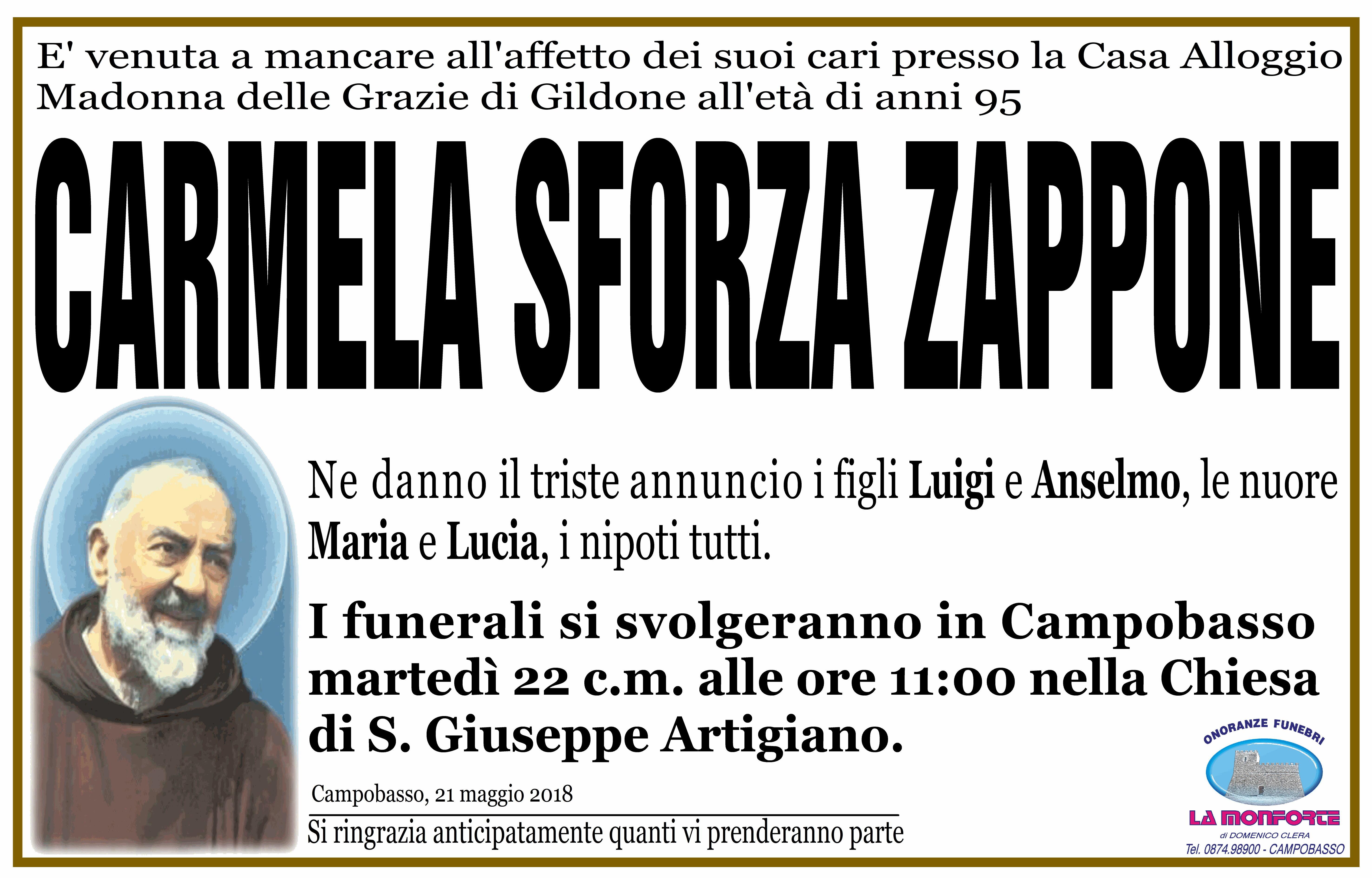 Carmela Sforza Zappone  – 21/05/2018 – Campobasso – Onoranze Funebri La Monforte