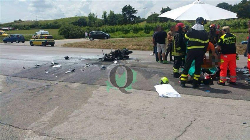 Si scontra con un'auto e la moto prende fuoco, in ospedale 28enne di Trivento