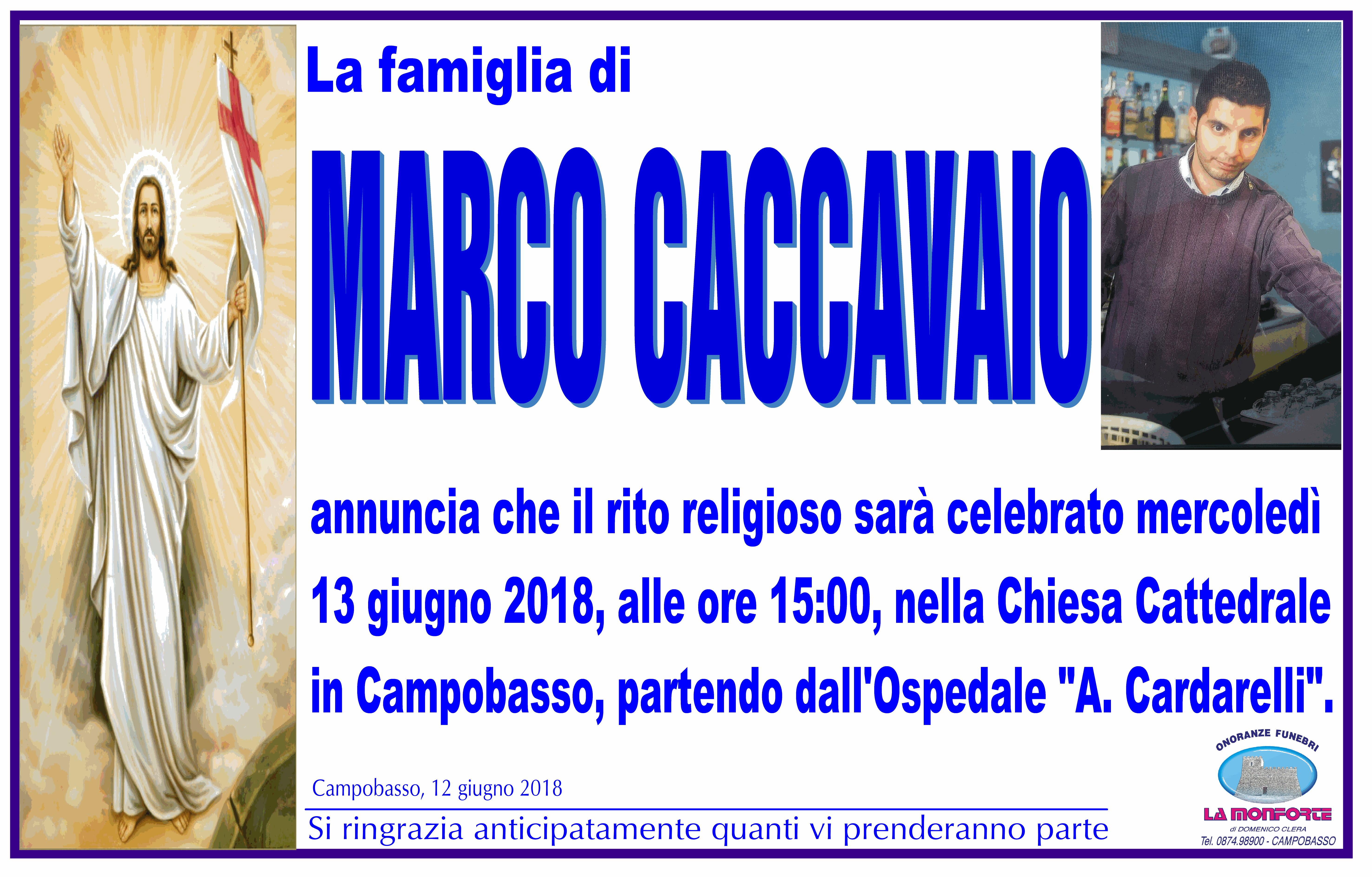 Marco Caccavaio – 12/06/2018 – Campobasso – Onoranze funebri La Monforte