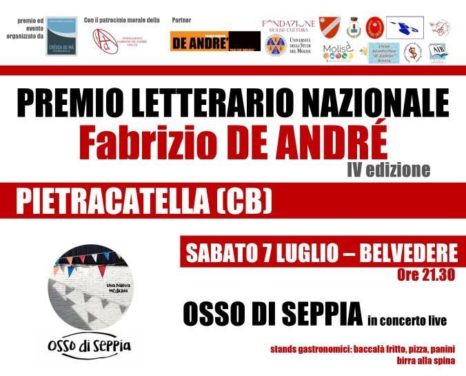 Il 7 e l'8 luglio la IV edizione del Premio Letterario Nazionale Fabrizio De André