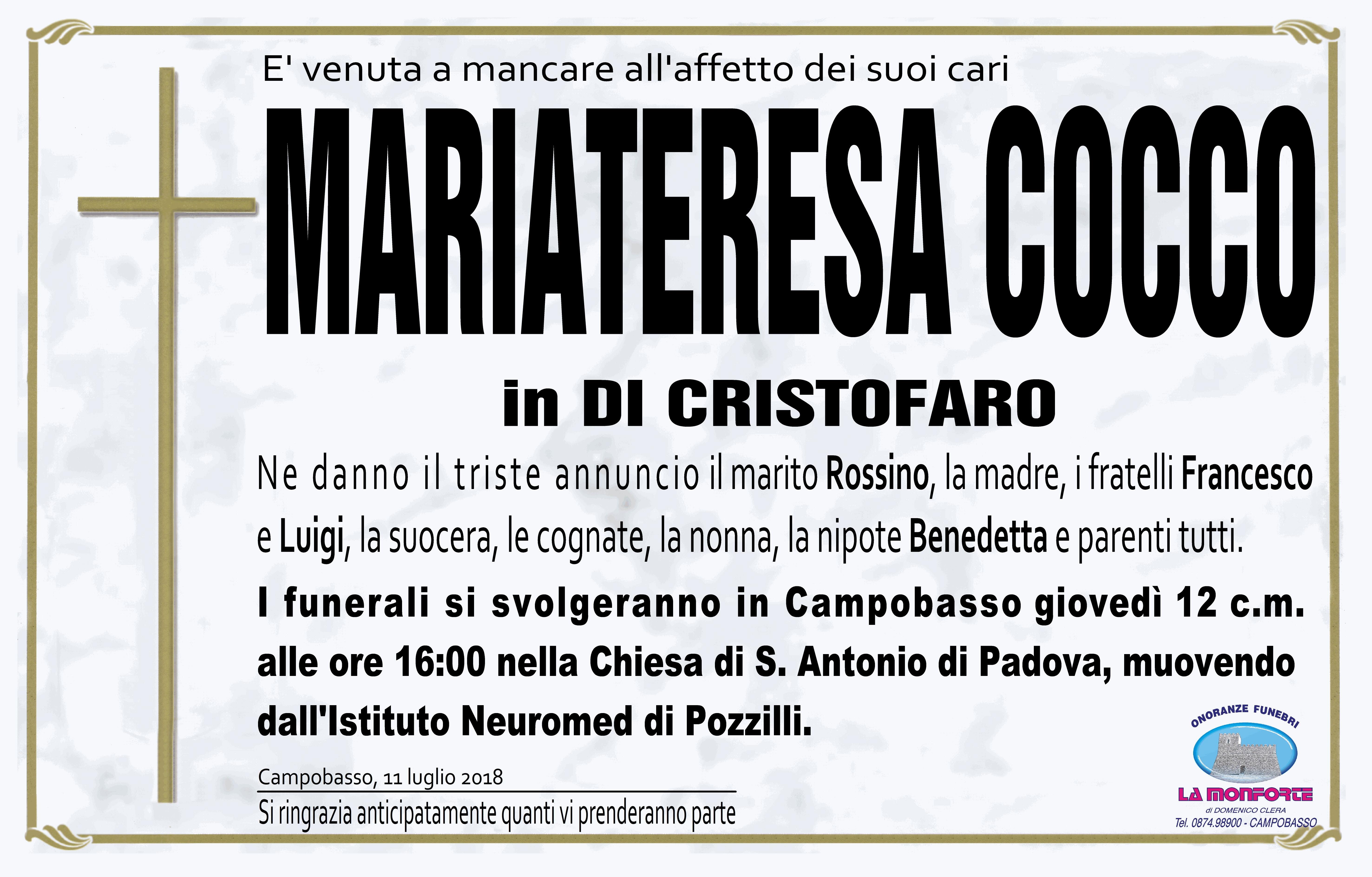 Mariateresa Cocco – 11/07/2018 – Campobasso – Onoranze Funebri La Monforte