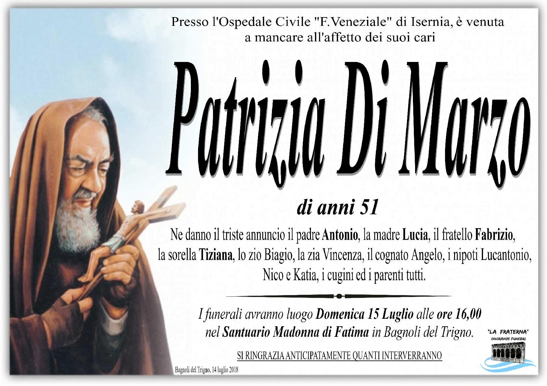 Patrizia Di Marzo – 14/07/2018 – Bagnoli del Trigno – Onoranze Funebri La Fraterna