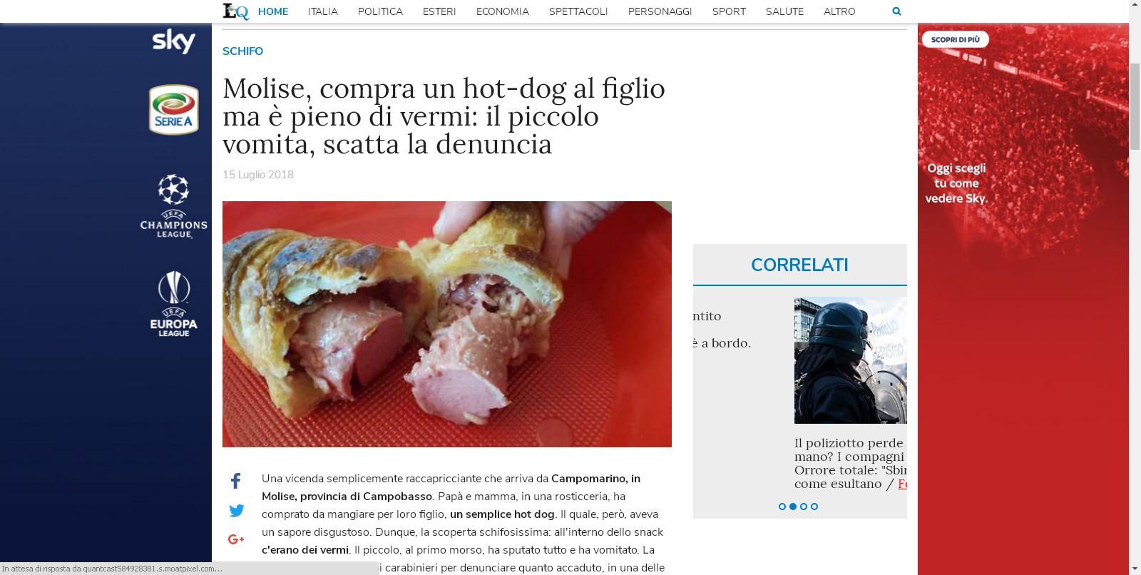 Libero sbaglia Campomarino: l'hot dog con i vermi venduto in Puglia