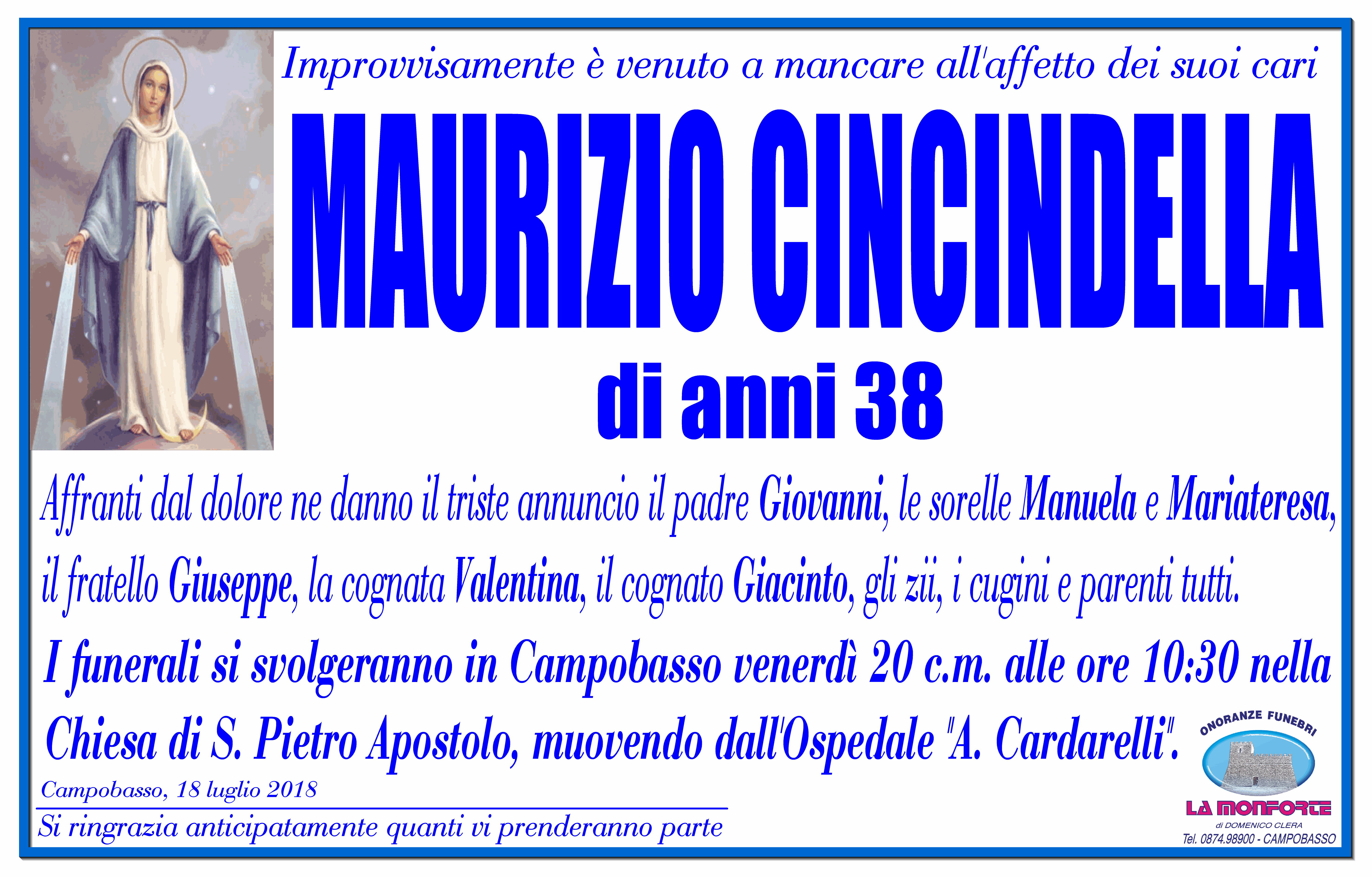 Maurizio Cincindella – 18/07/2018 – Campobasso – Onoranze Funebri La Monforte