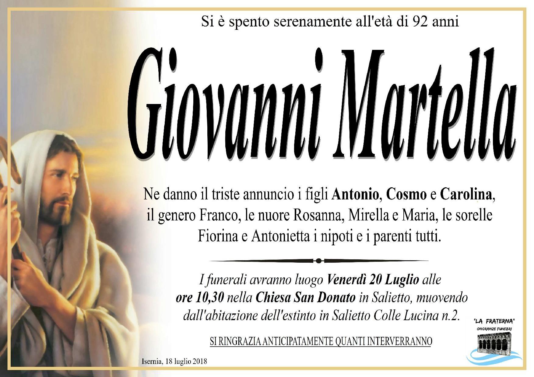 Giovanni Martella – 18/07/2018 – Isernia – Onoranze Funebri La Fraterna