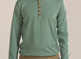 Sweater Lappe - Turquoise/brown