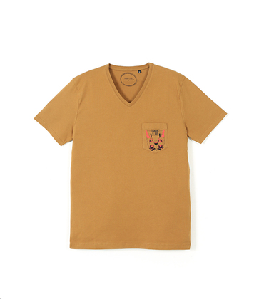 Tee-shirt V-Bouteille 02 - Golden brown