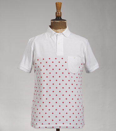 Polo-neck Pois - White/red