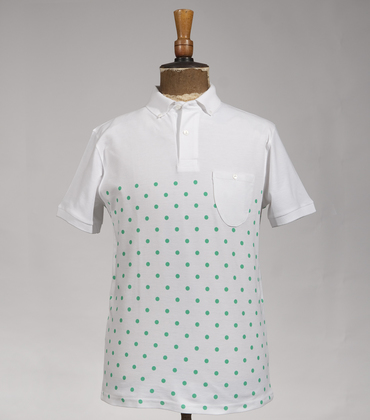 Polo-neck Pois - White/green