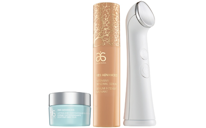 Arbonne Intelligence Genius Ultra Device, Arbonne RE9 Intensive Renewal Serum and Arbonne RE9 Lifting and Contouring Eye Cream