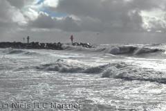 I Thy er der flot natur hele året. Her er det ved stranden en dag i September, med hård vind fra Vest.
