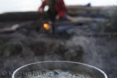 Karrygryden simrer, mens bålet langsomt tager form en tidlig forårsdag i Boserup skov.