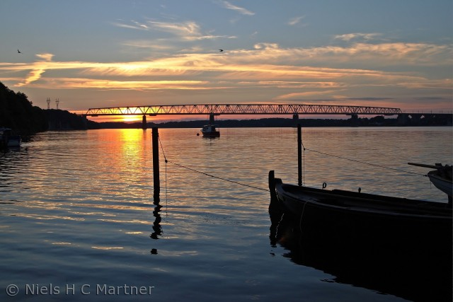 Den gamle havn i Middelfart, lige efter solnedgang i Juni 2012.