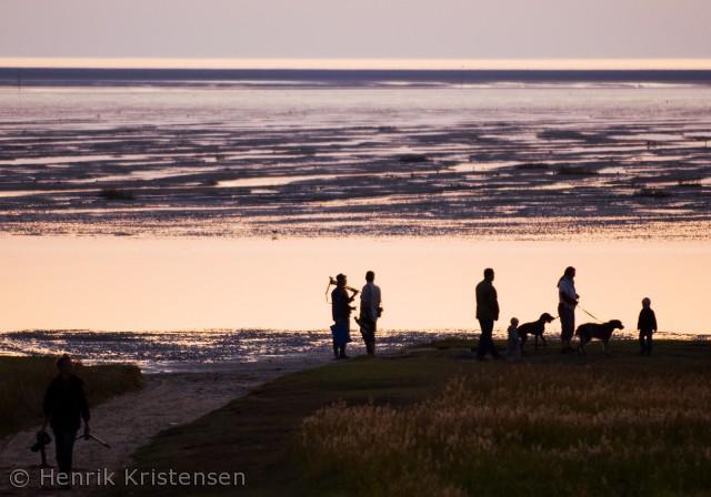 Folk nyder solnedgangen ved Mandø