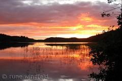 solnedgang ved Esrum sø