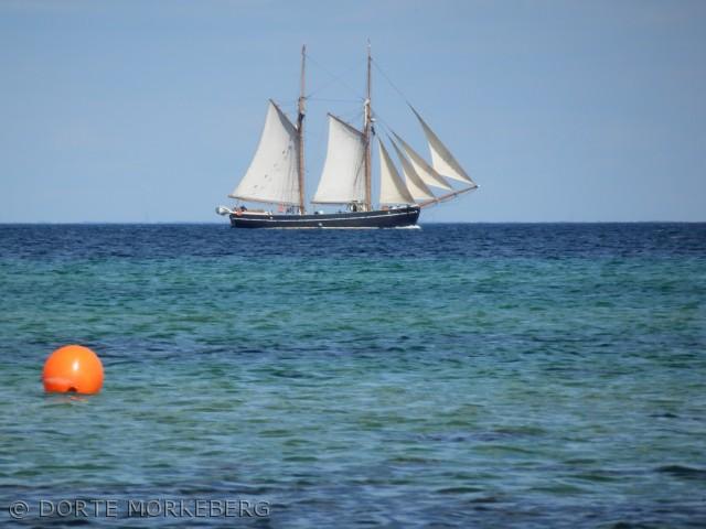 Billedet er taget den 22 juli fra stranden ved camp hverringe hvor et af det flotte træskibe er på bej til Kerteminde.  Havet og skibet passer sammen som fod  i hose, farverne på havet er så flotte