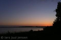 aftenbillede taget fra Ydernæs, Næstved udover fjorden mod Karrebæksminde