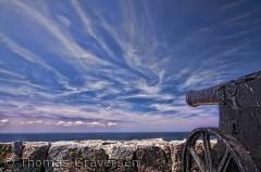 En tidlig morgen, på forsvarsanlægget på Christians Ø