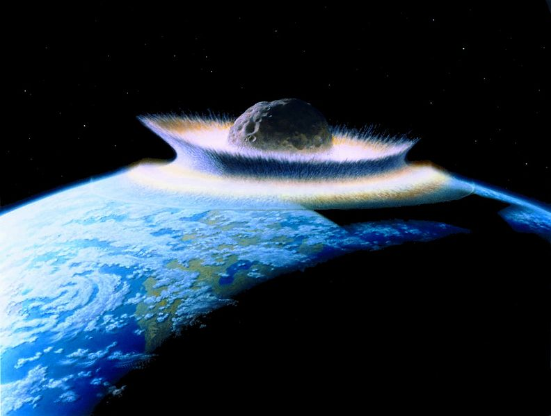 Artist's impression of a 500km-diameter planetoid hitting a young Earth