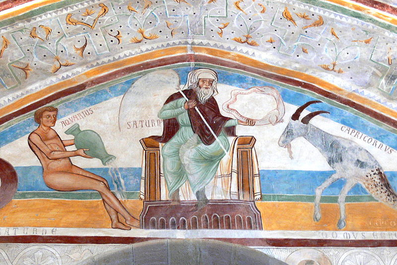 Fresco showing Saturn, flanked by Aquarius and Capricorn