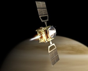 Artist's impression of Akatsuki in orbit around Venus. Credit: JAXA