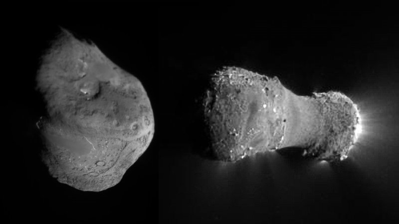 Images of comet Tempel 1 and comet Hartley 2, by Deep Impact spacecraft