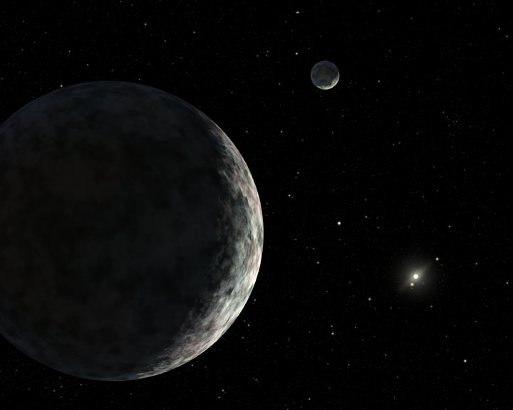 Artist's depiction of Eris and its moon, Dysnomia Credit: Robert Hurt (IPAC)