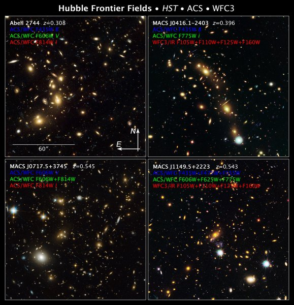 Four of the galaxy clusters that will be studied by Frontier Fields: Abell 2744, Pandoras Cluster, MACS J0416.1-2403, MACS J0717.5+3745, MACS J1149.6+2223 NASA, ESA, and Z. Levay (STScI/AURA)