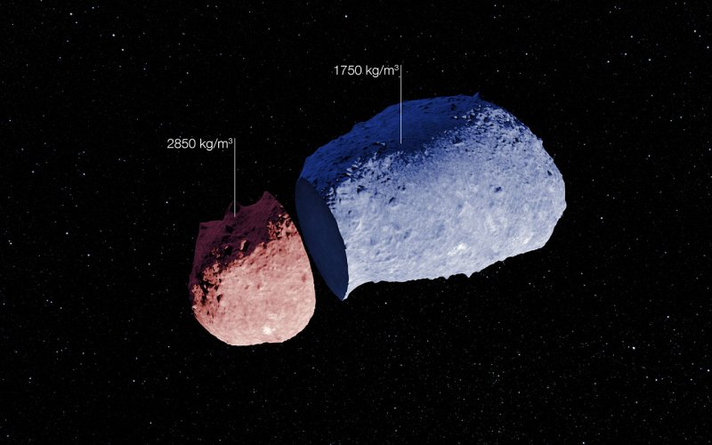 A schematic view of the strange peanut-shaped asteroid Itokawa. Credit: ESO. Acknowledgement: JAXA