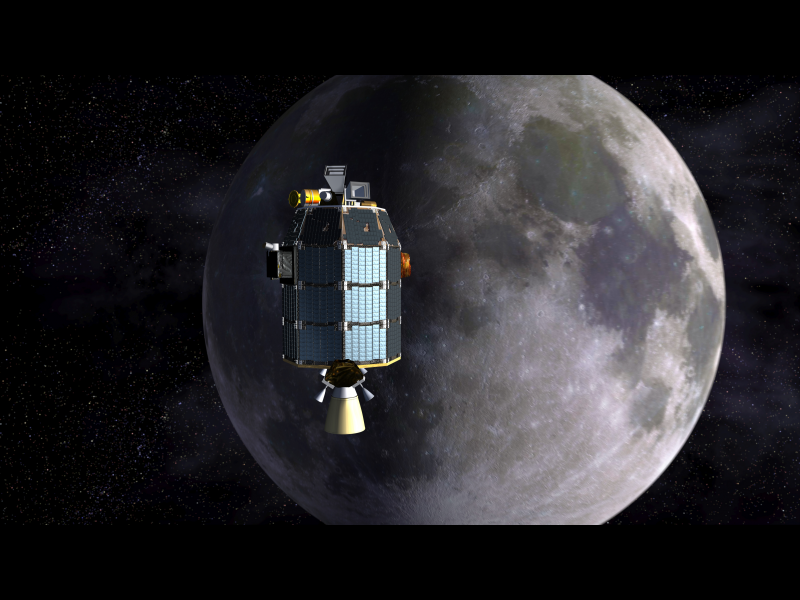 This is an artist's depiction of NASA's Lunar Atmosphere and Dust Environment Explorer (LADEE) observatory as it approaches lunar orbit. Image credit: NASA Ames/Dana Berry