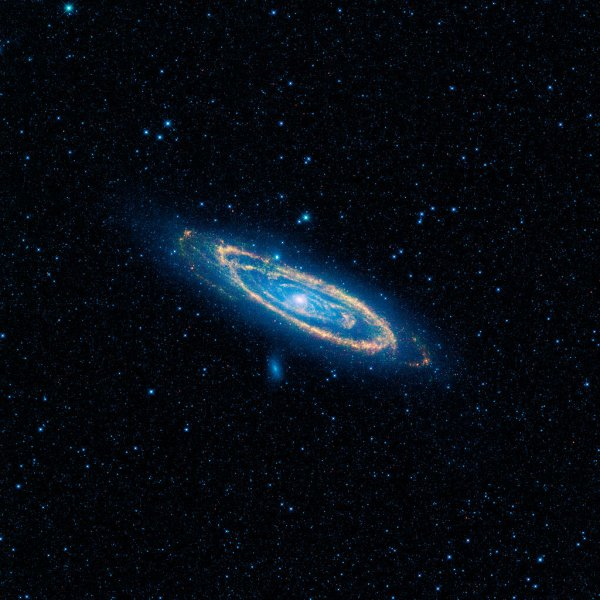 Infrared view of M31 (the Andromeda Galaxy), showing many of its satellites dwarf galaxies. By NASA/JPL-Caltech/UCLA