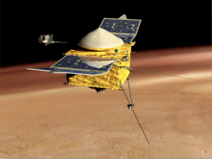 Illustration of the MAVEN orbiter studying the martian atmosphere
