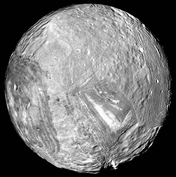Miranda, as imaged by Voyager 2