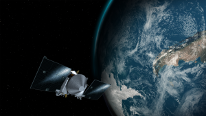 Artist's impression of OSIRIS-REx orbiting the Earth