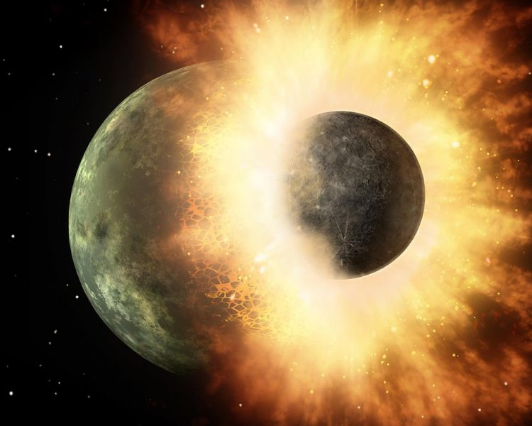 This artist's concept shows a celestial body about the size of our moon slamming at great speed into a body the size of Mercury.  Credit: NASA/JPL-Caltech