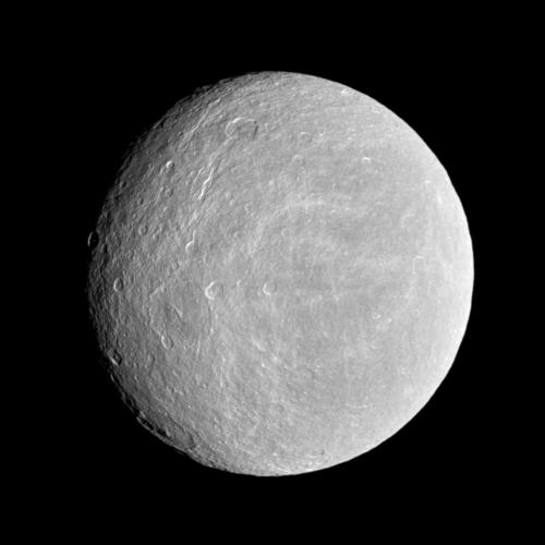Rhea as seen by Cassini.  Image Credit:  NASA