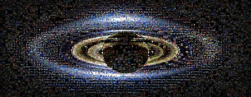 An image of Saturn, backlit, combined with a mosaic of images of people on Earth waving at the Cassini Spacecraft