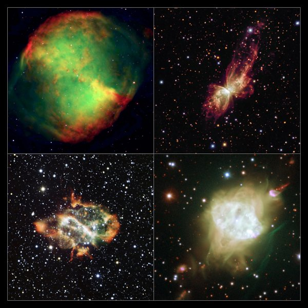 Four bipolar planetary nebulae imaged using ESO telescopes. Studies of similar objects in the central bulge of the Milky Way have revealed an unexpected alignment. The objects shown here are much closer to Earth than those used in the new study, but demonstrate the varied forms of these spectacular objects.  The objects shown are: upper-left: the Dumbbell Nebula, Messier 27. upper-right: NGC 6302, lower-left: NGC 5189 and lower-right Fleming 1.  Credit:  ESO