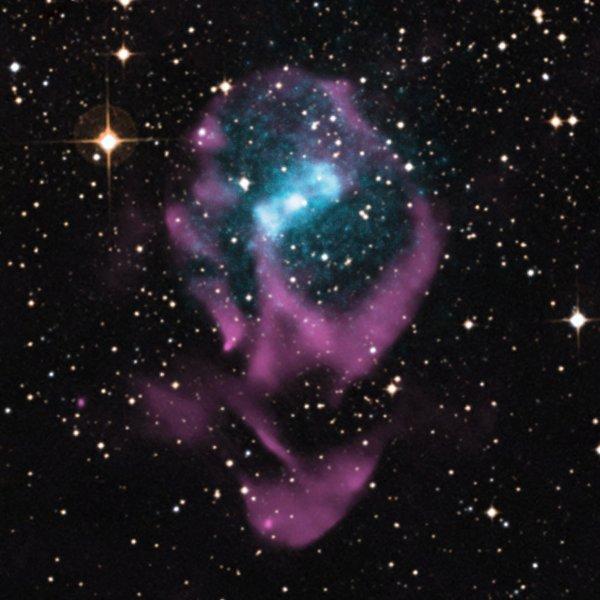 This image of Circinus X-1 shows the X-rays in blue and radio emission in purple, which have been overlaid on an optical field of view from the Digitized Sky Survey. Credit: X-ray: NASA/CXC/Univ. of Wisconsin-Madison/S.Heinz et al; Optical: DSS; Radio: CSIRO/ATNF/ATCA