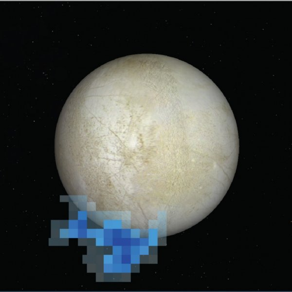 This graphic shows where water vapour was detected above Europa in December 2012.  Credit: NASA/ESA/L. Roth/SWRI/University of Cologne