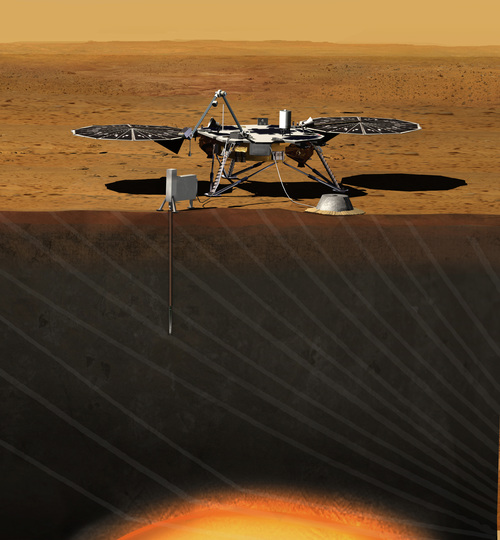 Artist's impression of InSight lander, on Mars