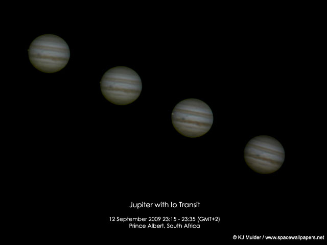 Io transitting Jupiter. Credit: Kerneels Mulder