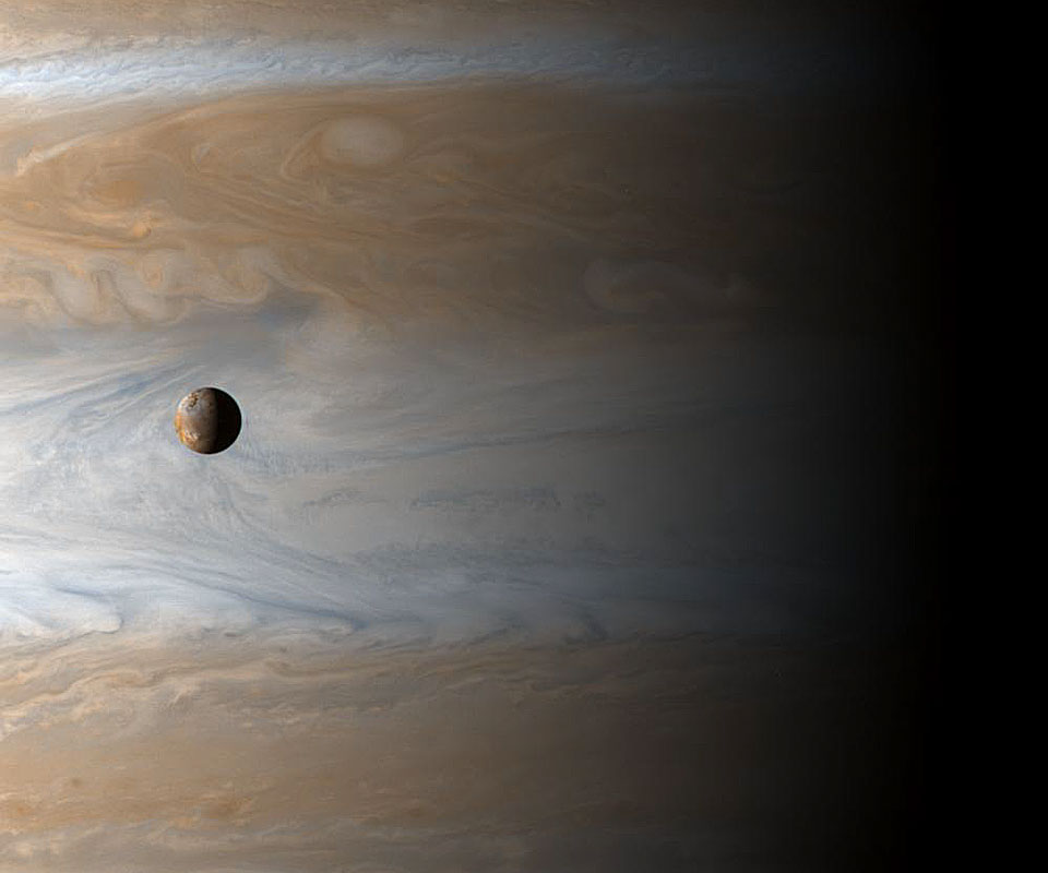 Io in front of Jupiter, as seen by Cassini