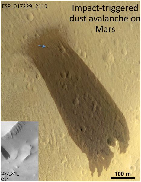 Dust avalanche on Mars