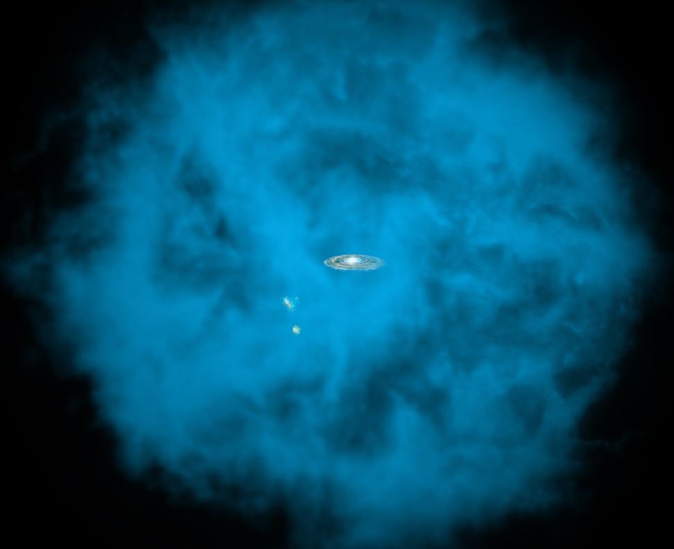 This artist's illustration shows an enormous halo of hot gas (in blue) around the Milky Way galaxy. Also shown, to the lower left of the Milky Way, are the Small and Large Magellanic Clouds, two small neighboring galaxies. The halo of gas is shown with a radius of about 300,000 light years, although it may extend significantly further. Credit: Illustration: NASA/CXC/M.Weiss; NASA/CXC/Ohio State/A Gupta et al