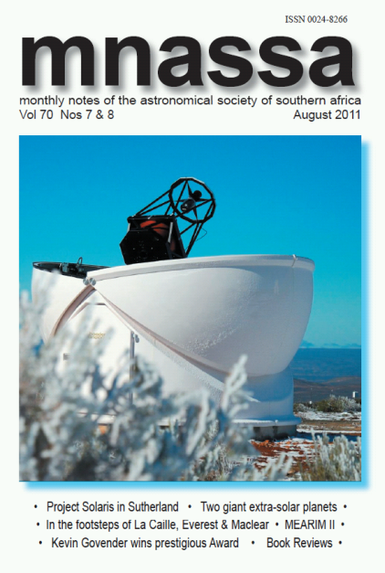 Monthly Notes of the Astronomical Society of South Africa - August 2011