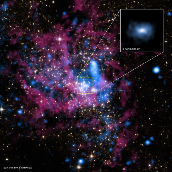 Supermassive black hole Sagittarius A* at the heart of the Milky Way galaxy Image Credit:  X-ray: NASA/UMass/D.Wang et al., IR: NASA/STScI