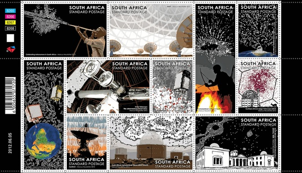 Marcus Neustetter's designs for stamps celebrating South African astronomy