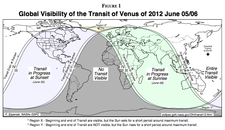 Transit of Venus 2012 visibility map